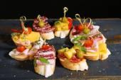 Tasty sandwiches on table — 图库照片