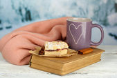 Composition with cup of hot drink — Stock Photo