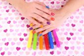 Multicolor female manicure — Foto Stock