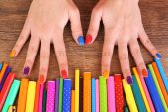 Multicolor female manicure — Stock Photo