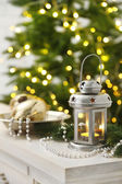 Christmas decorations with lantern — Stock Photo