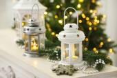 Christmas decorations with lantern — Stock Photo