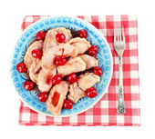 Vareniki with cherry on plate — Stock Photo