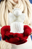 Knitted Christmas angel — Stock Photo
