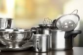 Stainless steel kitchenware — Stock Photo