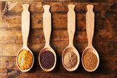 Mustard seeds, powder and sauce — Stock Photo