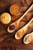 Mustard seeds, powder and sauce — Stock Photo