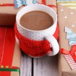 Hand-made Christmas gifts with cup of coffee — Stock Photo #61129125