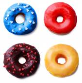 Delicious donuts collage, isolated on white — Stock Photo