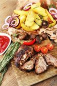 Grilled meat on table — Stock Photo