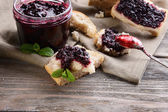 Delicious black currant jam on table close-up — Stockfoto