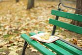 Book with leaf on bench — Stock Photo