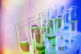 Color fluid in test-tubes — Stock Photo