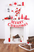 Decorated Christmas fireplace — Stock Photo