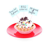 Delicious cake with calories count labels — Stock Photo