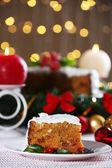 Christmas cake on table — Stock Photo