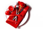 Table set for Valentine's Day — Stock Photo