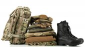 Army uniform with backpack — Stock Photo