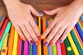 Multicolor female manicure with markers — Foto de Stock