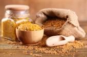 Mustard seeds in bag — Stock Photo