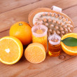 Orange and essential oil — Stock Photo #61210897
