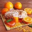 Oranges, bottles of bath salt and oil — Stock Photo #61210935