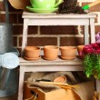 Flowers in wooden box, pots and garden tools on bricks background. Planting flowers concept — Stok fotoğraf #61211869