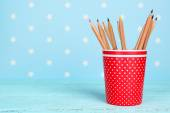 Plastic cup with pencils — Stockfoto