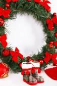 Christmas decorations on mantelpiece — Stock Photo