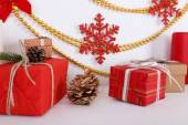 Christmas decoration of present boxes — Stock Photo