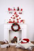 Fireplace with Christmas decoration — Stock Photo