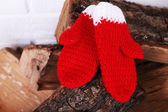 Firewood with Christmas mittens on white wall background — Stock Photo