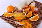 Spa accessories with essential oil — Stock Photo