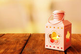 Lantern on wooden table — Foto de Stock
