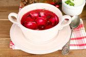 Traditional polish red borscht — Stock Photo