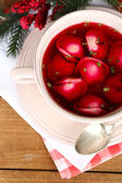 Traditional polish red borscht — Stock Photo