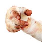 Hand of mummy in bandage — Stock Photo