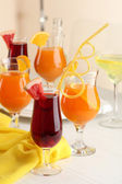 Glasses of fruit cocktails in party close-up — Stockfoto