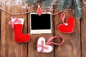 Cadres photo blanc et décor de Noël — Photo