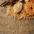 Christmas spices and baking ingredients on sackcloth background — Stock Photo #61222697