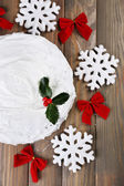 Christmas cake on wooden table background — Stock Photo
