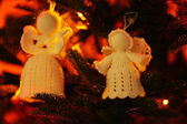 Knitted Christmas angels — Stock Photo