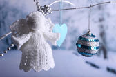 Knitted Christmas angel — Stok fotoğraf