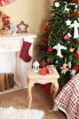 Decorated fireplace near Christmas tree. Christmas decoration concept — Zdjęcie stockowe