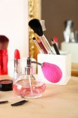 Different cosmetics on dressing table, close up — Foto de Stock