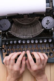 Antique Typewriter. Vintage Typewriter Machine close-up — Fotografia Stock