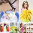 ������, ������: ��� Clean concept. Young housewife with cleaning supplies and tools collage
