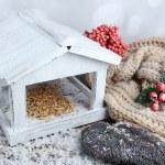 Handmade birdhouse in winter — Stock Photo #61302837