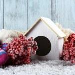 Handmade birdhouse in winter — Stock Photo #61302841