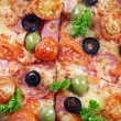 Tasty pizza with sausage and vegetables, macro view — Stock Photo #61303765